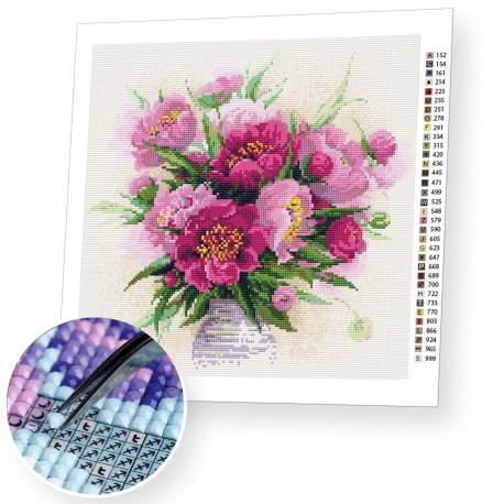 Peonies in a Vase diamond mosaic kit by RIOLIS Ref. no.: AM0009