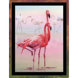 """RIOLIS: Siuvinėjimo rinkinys su ant medžiagos atspaustu piešiniu """"Flamingai"""" 0012 PT (30x40 cm)"""
