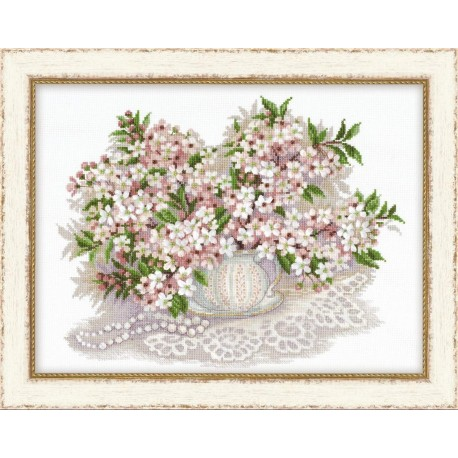 "Cross Stitch Kit ""Cherry Blossom"" - RIOLIS Premium 100/034 (40x30 cm)"