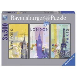 "Ravensburger trys dėlionės viename: ""Puzzle 3X500 Travel around the world"""