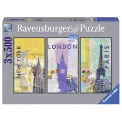 """Ravensburger trys dėlionės viename: """"Puzzle 3X500 Travel around the world"""""""