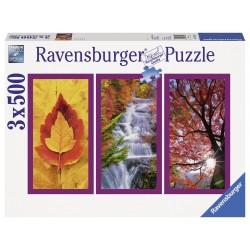 "Ravensburger trys dėlionės viename: ""Puzzle 3X500 Nature Impressions"""