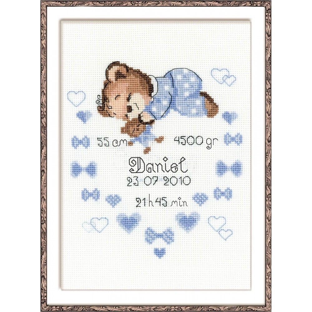 Boys Birth Announcement Cross Stitch Kit from RIOLIS Ref no1124 – Baby Announcement Cross Stitch