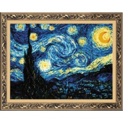 """RIOLIS – Create It Yourself – Siuvinėjimo rinkinys """"Žvaigždėta naktis pagal Van Gogą"""" 1088 (40x30 cm)"""