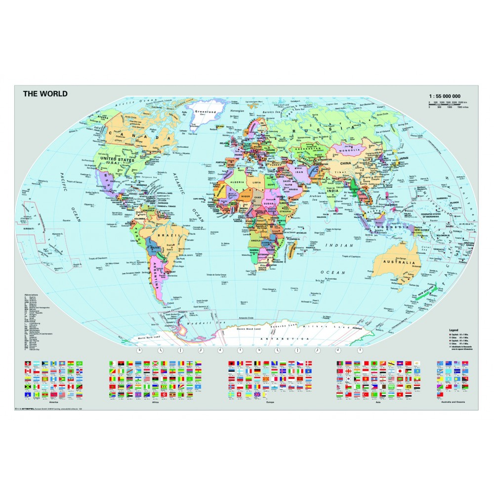 Polictical World Map.Ravensburger Dėlionė Puzzle 1000 Political World Map