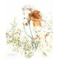 """Lanarte: Siuvinėjimo rinkinys """"Mergina prie žirgo"""" PN/0007952 (39x49 cm)"""