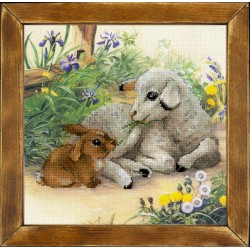 """RIOLIS: Siuvinėjimo rinkinys su ant medžiagos atspaustu piešiniu """"Ėriukas ir triušiukas"""" 0051 PT (30x30 cm)"""
