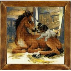 """RIOLIS: Siuvinėjimo rinkinys su ant medžiagos atspaustu piešiniu """"Kumeliukas ir šuniukas"""" 0052 PT (30x30 cm)"""