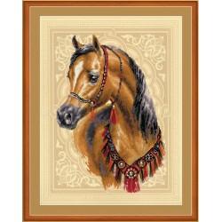 """RIOLIS: Siuvinėjimo rinkinys su ant medžiagos atspaustu piešiniu """"Arabiškas arklys"""" 0040 PT (30x40 cm)"""