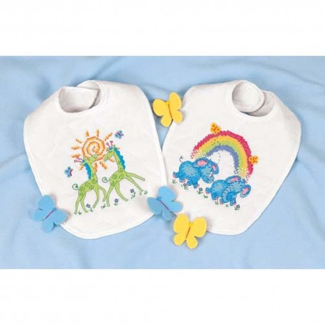DIMENSIONS Noah's Ark Bibs, Stamped Cross Stitch_73126