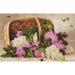 RARE find: Basket of lilacs SB501 - Cross Stitch Kit by Luca-s
