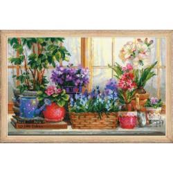 Palangė su gėlėmis - rinkinys siuvinėjimui iš RIOLIS Nr:1669