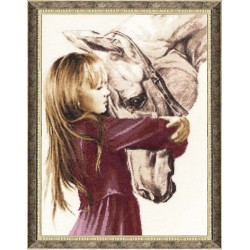 SV016 Girl with a horse Cross Stitch Kit from Golden Fleece