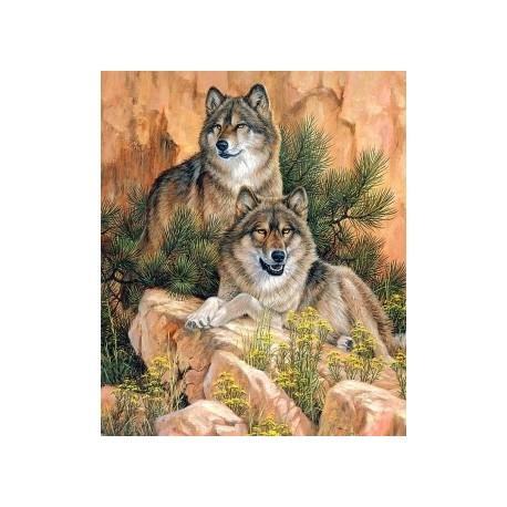 Deimantinis paveikslas Pair of Wolves AZ-1052 Dydis: 38х55