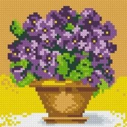 Deimantinis paveikslas Violets in the Vase AZ-1076 Dydis: 15х15