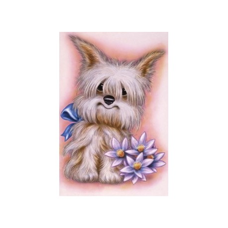 Diamond painting Dog with Flowers AZ-1189 Size: 25х35
