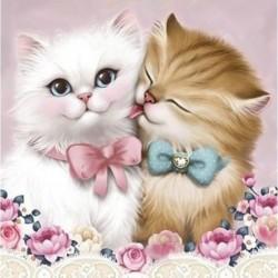 Deimantinis paveikslas 2 Cats AZ-1296 Dydis: 25х25