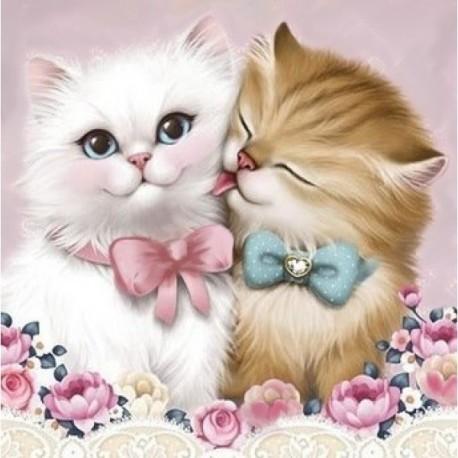 Diamond painting 2 Cats AZ-1296 Size: 25х25