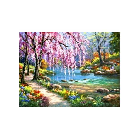 Deimantinis paveikslas Sakura near the River AZ-1328 Dydis: 40*30