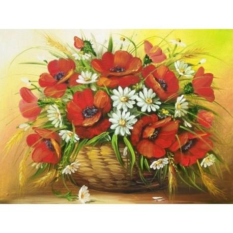 Deimantinis paveikslas Poppies in the Vase AZ-1348 Dydis: 40*30