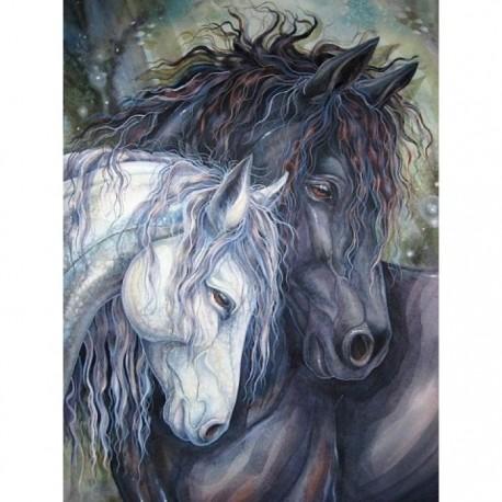 Deimantinis paveikslas Pair of Horses AZ-1386 Dydis: 30х40