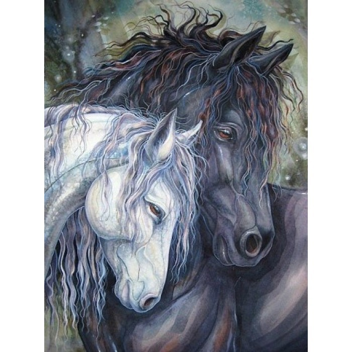 diamond painting pair of horses az 1386 size 30 40