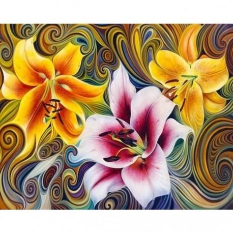 Deimantinis paveikslas Three Lilies AZ-1394 Dydis: 50х40