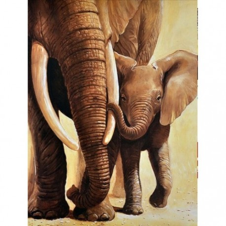 Deimantinis paveikslas Elephant of the Mother AZ-1398 Dydis: 30х40
