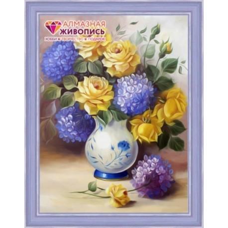 Deimantinis paveikslas Roses & Hydrangeas AZ-1508 Dydis: 30х40