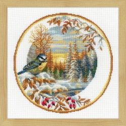 Plate with Great Tit cross stitch kit by RIOLIS Ref. no.: 1692
