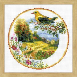 Plate with Oriole cross stitch kit by RIOLIS Ref. no.: 1693