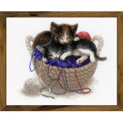 Kittens In A Basket cross stitch kit by RIOLIS Ref. no.: 1724