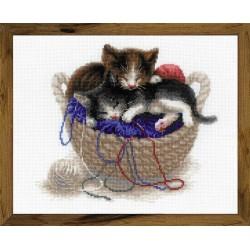 Kittens In A Basket siuvinėjimo rinkinys iš RIOLIS Nr.: 1724