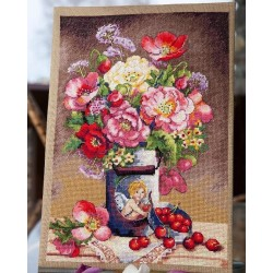 Cupid's Flowers SK91 cross stitch kit by Merejka