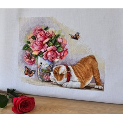 Bulldog & Butterflies SK94 cross stitch kit by Merejka